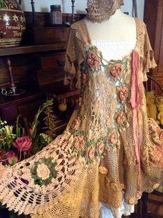 Luv Lucy gypsy crochet dress bohemian love by LuvLucyArtToWear, $275.00: