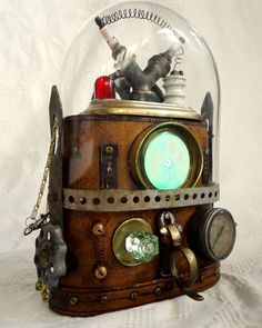 OOAK Steampunk Costume PURSE bag machine age UPCYCLED victorian robot industrial on Etsy, $550.00