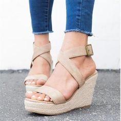 Gladiator Sandals Heels, Wedge Sandals, Summer Sandals, Summer Heels, Summer Wedges, Strap Sandals, Frauen In High Heels, Beige Shoes, Ankle Strap Wedges