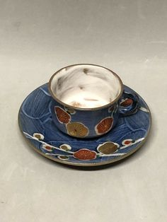 Shimizu Yaki Espresso Teacup and Saucer Blue with Gold Copper Design Japan Tea Cup Set, Gold Labels, Clay Art, St Kitts, Grenada, Teacup, Pottery Art, Trinidad And Tobago, Espresso