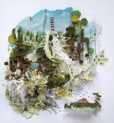 Relief artwork that artist depicts clashes urban & natural worlds