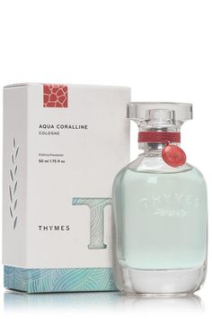 """50ml full-size perfume in """"Aqua Coralline"""" – a seaside curio composed of waterlily, white cyclamen, driftwood & hinoki wood. Light, airy, aquatic, feminine. Previously known as """"Naia,"""" this is the same scent in new, beautiful packaging. Beautifully bottled in glass & adorned with a signature charm. Layer with """"Aqua Coralline"""" body lotion for intensified depth and longevity. Unisex scent.   Aqua Coralline Cologne by Thymes. Home & Gifts - Gifts - Scents & Bath Florida"""