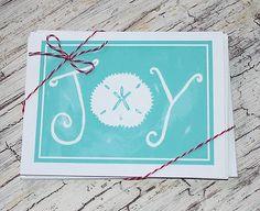 Coastal Christmas Joy Note Cards by Lemondaisy Design