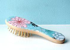 Wooden Hair Brush Decoupage