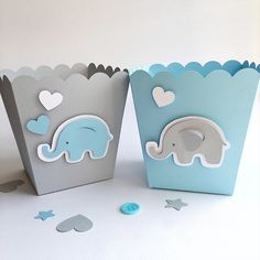 Beautiful Blue Gray Elephant Favor Boxes Boy Baby Shower Decorations Elephant 1 St  Birthday Decor Popcorn Paper Party Blue Gray Containers