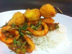 Brocheta de camarones con anillos de calamar, arvejitas, semillas de calabaza y arroz basmati // Menú del día 14/03 Rinascente milano