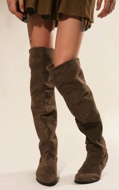 Hot suede lace up thigh high boots, brown over the knee lace up ...