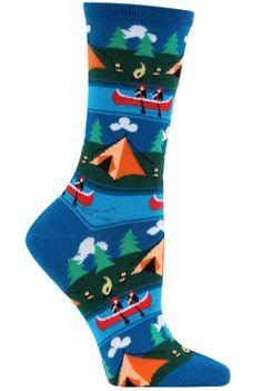 Camping Scene Fun Novelty Pop Culture Socks for Women in Blue Silly Socks, Funky Socks, Crazy Socks, Cute Socks, Colorful Socks, My Socks, Awesome Socks, Kids Socks, Cool Socks For Men