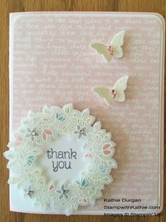 Colored white embossed vellum wreath - yum! Circle of Spring, Subtles dsp stack, Wonderful Wreath framelits, & more - all from Stampin' Up!