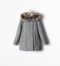 Image 1 of COAT WITH DETACHABLE FUR HOOD from Zara