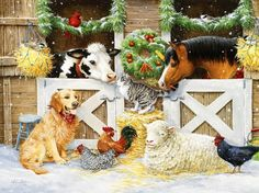 Shop Bits and Pieces jigsaw puzzle store for kids and adults! The farm animals enjoy the snow together by the barn 300 piece jigsaw puzzle by artist Kathy Goff measures 18 x Christmas Farm, Christmas Horses, Cowboy Christmas, Christmas Scenes, Christmas Animals, Primitive Christmas, Christmas Pictures, Christmas Time, Vintage Christmas