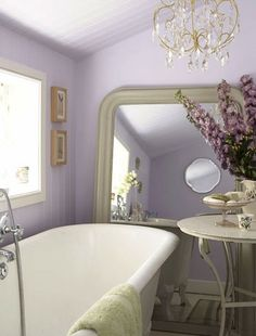 Very light purple for a calming bathroom