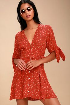 03daf60306 Birgit Coral Red Floral Print Tie-Sleeve Dress 1 Yellow Sundress
