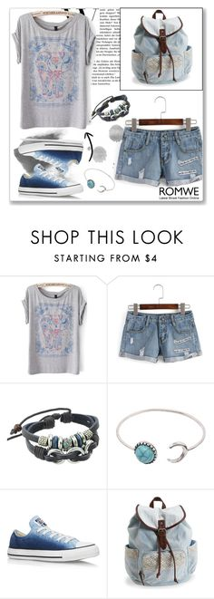 """""""ROMWE V"""" by abecic ❤ liked on Polyvore featuring Converse, Aéropostale and romwe"""