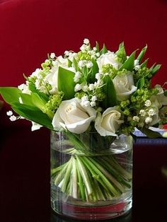 Wedding Bouquet Featuring: White Roses, White Lily Of The Valley, Green Viburnum & Green Foliage Ikebana, Beautiful Flower Arrangements, Floral Arrangements, Beautiful Flowers, Creative Flower Arrangements, Floral Bouquets, Wedding Bouquets, Wedding Flowers, Green Wedding