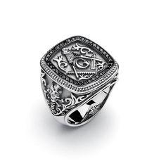 Masonic Gothic Ring with Black Diamonds
