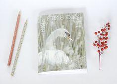 Notebook carnet de note petit cahier journal oiseau cygne par PetiteMesangeBleue