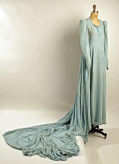 Wedding ensemble Date: 1940 Culture: American Medium: silk Accession Number: Vintage Gowns, Vintage Bridal, Vintage Weddings, 1940s Wedding, 1940s Outfits, Vintage Outfits, Wedding Attire, Wedding Gowns, Wedding Wear