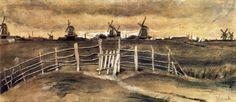 """""""Molinos de viento en Dordrecht"""" 1881"""