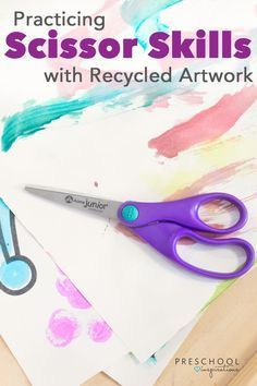 Give preschoolers a chance to practice scissor skills and fine motor skills using recycled artwork!