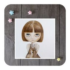 Blythe portrait girl with deer girl illustration by inameliart