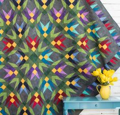 Boundless Blenders Aura Fabric & Juicy Cactus Pattern Quilt Kit - multi
