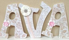 Custom Nursery Letters- Baby Girl Nursery Decor- Personalized Name- Wooden Hanging Letters - Nursery Wall Letters- The Rugged Pearl on Etsy, $23.28 AUD