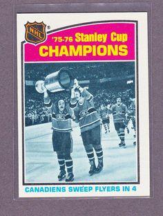 1976 77 TOPPS MONTREAL CANADIENS 75 76 STANLEY CUP CHAMPIONS COURNOYER ROBINSON Hockey Girls, Hockey Mom, Ice Hockey, Montreal Canadiens, Maple Leafs Hockey, Tyler Seguin, Stanley Cup Champions, Toronto Maple Leafs, New York Rangers