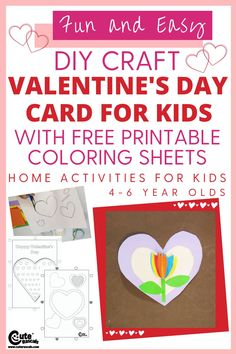 Let kids have fun by giving Valentine's day cards that they will personally make. Check out this easy DIY Valentines day cards for kids. #ValentinesDay #Valentine #diycards #freeprintables #kidsworksheets #kidsprintables #activitysheets #worksheetsforkids #kindergartenworksheets #preschoolworksheets #coloringpagesforkids #coloringsheets #kidscoloring #coloringbook #Valentinesdayprintables #craftsforkids #kidscrafts #homeactivityforkids #kidsactivities #Valentinesdaycrafts Valentines Day Coloring, Valentine Day Cards, Valentine Crafts, Easy Diy Valentine's Day Cards, Valentine's Day Diy, Home Activities, Montessori Activities, Free Printable Coloring Sheets, Valentine's Day Crafts For Kids