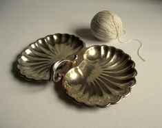 Scalloped Silver Plated Serving Dish  Divided Clam Tray by gazaboo