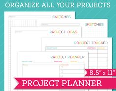 Project Planner  8.5 x 11  Printable Perpetual by TheNiftyPlanner