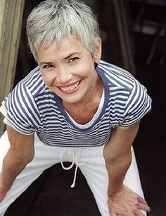 Short silver grey hair. Gray hair. Granny hair. Dye free. No dye.