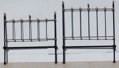 Vintage Wrought Iron Bed Headboard and Footboard