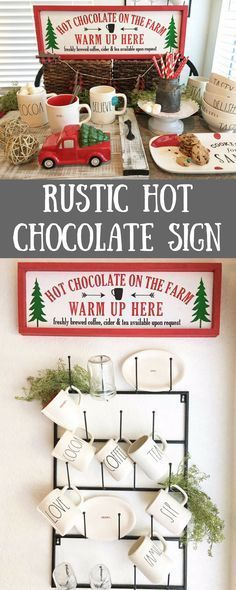 Rustic winter/christmas sign for hot chocolate. Cute to use in a coffee coffee bar for the holidays  #Christmas #Christmasdecor #Christmastime #winter #homedecor #homedesign #homedecoration #homedecorideas #homesweethome #homestyle #country #farmhouse #farmhousestyle #farmhousedecor #rusticdecor #commissionlink