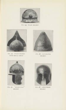 Helen McClees. The daily life of the Greeks and Romans : as illustrated in the classical collections, 1928. The Metropolitan Museum of Art, New York. Thomas J. Watson Library (b1238009x) | Five different types of helmets from this early Met publication. #armor
