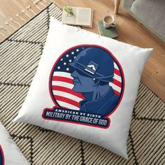'American By Birth Army By The Grace Of God - Floor Pillow by CavemanMedia Pillow Design, Floor Pillows, Decorative Throw Pillows, Birth, Army, Flooring, God, Printed, American