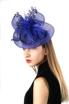 Kentucky Derby Hat Fascinator Cream And Black Wedding Guest Headpiece Royal Ascot Melbourne Cup Feathers