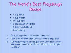 Adventures in Kindergarten: What's Cooking Wednesday: Playdough Edition - Janice Strome - art therapy activities Best Playdough Recipe, Homemade Playdough, Cooked Playdough, Playdough Recipe Cooking, Diy Slime, Toddler Fun, Toddler Crafts, Preschool Crafts, Toddler Stuff