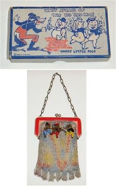 The Three Little Pigs enamel mesh metal purse (vintage-likely 1920s).