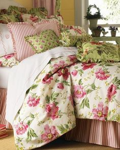 roses and stripes in cottage bedroom makeover Shabby Chic Bedrooms, Shabby Chic Furniture, Shabby Chic Decor, Luxurious Bedrooms, Beautiful Bedrooms, Luxury Bedding, Bedroom Decor, Home Decor, Garden Cottage