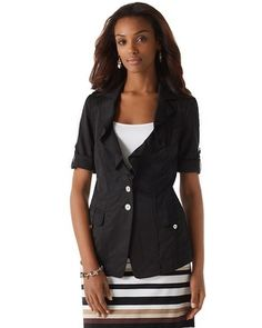 A great weekend jacket...and it works great for the office too! (White House Black Market Short-Sleeve Utility Blazer #whbm)