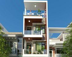 Narrow House Designs, Modern Exterior House Designs, Best Home Design Software, House Front Design, Roof Deck, House Elevation, Facade Design, Townhouse, Villa