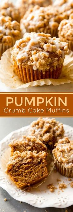 Soft and moist pumpkin muffins topped with pumpkin spice crumbs and maple icing! Recipe on sallysbakingaddic...