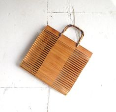 Vintage Wooden Tote / Bamboo Bag / 1960s by SmallEarthVintage