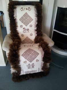 Yey - my first Sheep Rug is finished. The rug is for a chair, but can also be used for a baby...