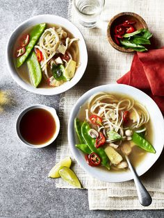 Tuck into this Thai recipe which uses spiralised potatoes as noodles in a broth comprised of stock, ginger and zesty flavours.