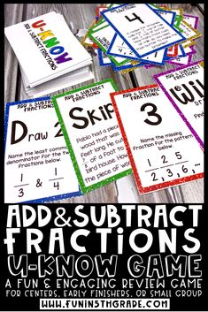 Help your students review adding and subtracting fractions with this fun math card game! Great for math centers/stations, early finishers and small groups. This game is great for test prep!  5th grade students will review adding and subtracting fractions with like and unlike denominators! Math Card Games, Fun Math Games, Add And Subtract Fractions, Math Websites, Fraction Games, Framed Words, Math Strategies, Math Word Problems, Review Games