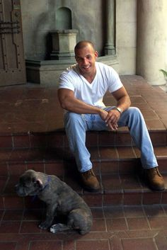 Oh, he loves dogs too!...Perfect....Vin Diesel with his dog, Roman