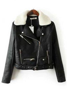 Stylish Ladies Lapel Zipper PU Jacket With Detachable Lamb Fur Collar