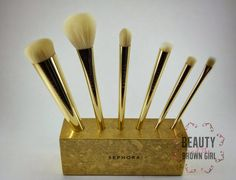 #Sephora 24 Karat Gold Mine Brush set. More pics and review at: http://beautyandthebrowngirl.blogspot.com/2014/11/sephora-24-karat-gold-mine-brush-set.html  #Makeup #Holidaybrushes #makeupbrushes #24karatbrushset